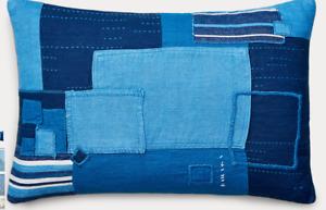 "Ralph Lauren Stover Patchwork Blue Decorative Pillow 16"" x 24"" NWT"