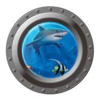 Shark Ocean View Wall Sticker 3D Porthole Window Kids Room Home Decor Art