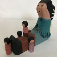 Folk Art Vintage New Mexico Primitive Sculpture Story Teller Singing Mother 1994