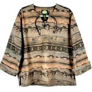 CABELAS Womens Heavy Cotton Flannel Southwestern V-Neck Pullover Shirt Sz L