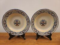 """Set of 2 Meridiana Ceramiche 8 1/2"""" Large Rim Soup Bowls - Italy Hand Painted"""