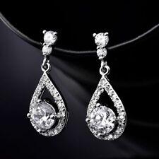 18K White Gold Diamond white crystal Dangle Drop Earrings 395