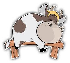 "Cow Cartoon Sleeping Car Bumper Sticker Decal 5"" x 5"""