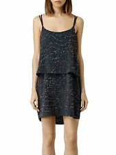 NEW * ALLSAINTS * ' ALES ' GUN METAL SEQUINNED MINI DRESS SIZE 6 RRP £248