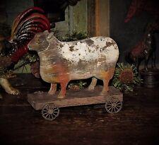 Primitive Antique Style Farm Barnyard Pull Toy SHEEP ON WHEELS Shelf Sitter