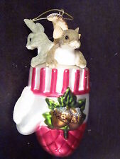 Charming Tails Mouse Rabbit Chipmunk In Glass Christmas Mitten Ornament