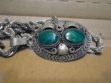 Vintage Sterling Silver and Malachite Pendant