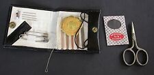 1960 BLACK LEATHER POUCH TRAVEL SEWING KIT PRESS STUD AND GERMAN TOOLS