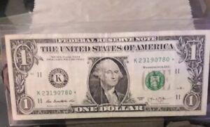 2013 One Dollar FRN Star note K 23190780 ☆