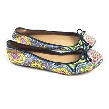 Talbots Paisley Print Satin Leather Ballet Flats Size 8 Womens Blue Pink Slip On