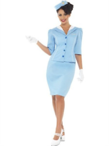 Air Hostess Costume, Blue, with Jacket and Mock Collar, Hat, Skirt .. COST-W NEW