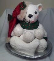 Vintage Christmas Paper Mache Polar Bear  Making Snowballs 20x17x17 tall