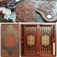 """Watlux Luxury Wooden 21"""" Backgammon Set Leather Large Board Wood Game Pieces New"""