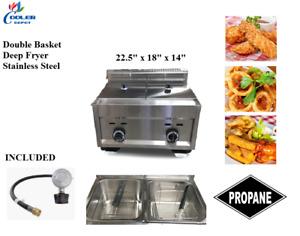 Double Bin Deep Fryer Stainless Steel Two Basket Propane Regulator Outdoor