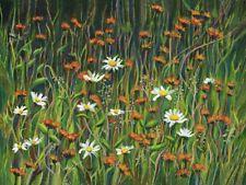"Original acrylic painting, summer wildflowers art, 16x12"", ready to hang"
