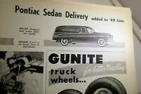 Pontiac sedan 1949 clippings review article Commercial Car Journal