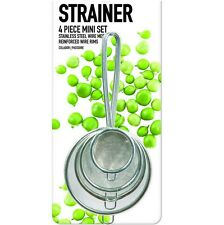 4 x Strainers 5cm to 10cm Small Large Boil Draining Stainless Steel Tea Baking