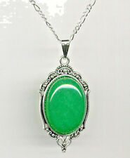GENUINE Green JADE Antique Silver Cameo Pendant Necklace *Sterling 925 Chain