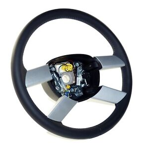 VW Polo 9N 9N3 Leather Steering Wheel Leather 4 Spokes Black Blue 6Q0419091P New