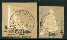 PORTUGESE COLONIES FUNCHAL LOT OF TWO SCOTT #1a  BISECTS  ON PIECES