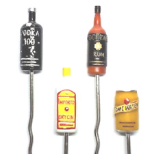 Set Of 4 Novelty Stainless Steel Cocktail Stirrers + Gift Box