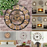 40/60/80cm Handmade Wall Clock Large Gear Vintage Rustic Wooden Vintage Watch SD
