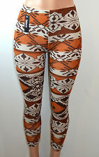 ed12c6c9bf24c Baslco Fair Isle Style Print High Waist Leggings,Brown,One Size Regular Fits