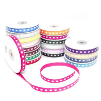 Grosgrain Ribbon with White Hearts 10mm Wide in Various Colours, Cut & Full Roll