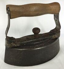 W H HOWELL Antique Vintage SAD IRON No 3 Wood & Metal Handle Geneva IL Illinois