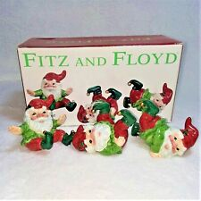 Fitz and Floyd Three Tumbling Holiday Elves Hand Painted Figurines