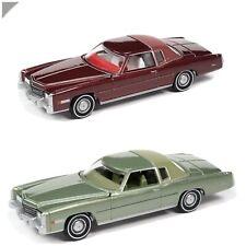 Pre Order Oct Auto World 1975 Cadillac Eldorado Pair Maroon Green 1/64