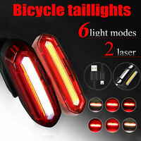 LED Bicycle Tail Light With USB Charging Cable Bike Rear Warning Light 6 Modes