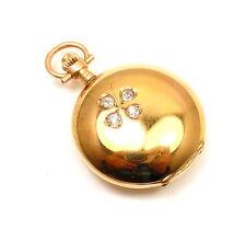 VINTAGE RARE SWISS PATEK? 14k YELLOW GOLD DIAMOND SHAMROCK SMALL POCKET WATCH