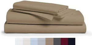 500 TC Egyptian Cotton 10''-12'' Inch Deep Pocket Taupe Solid Bedding Items - FS