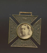 ANTIQUE 1898 QUEEN VICTORIA MALTESE CROSS MEDAL WITH CENTER PICTURE eb81