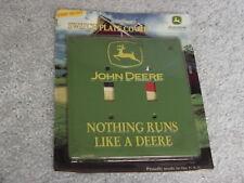 JOHN DEERE NOTHING RUNS LIKE A DEERE GREEN DOUBLE LIGHT SWITCH COVER NIP