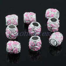 10X Pink Ribbon Breast Cancer AWARENESS Drum Large Hole Beads Fit Charm Bracelet