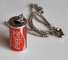 Coca Cola necklace with mini can Vintage Coke can necklace USA 1970s Chain