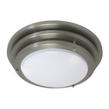 "Brushed Nickel Contemporary 10"" Fluorescent Flush Fixture"