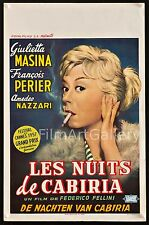 THE NIGHTS OF CABIRIA 1957 Belgian Best poster! Federico Fellini  filmartgallery