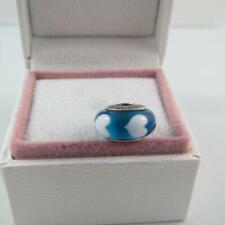 Pandora Blue & White Hearts Murano Charm (Sterling Sliver S925 ALE)