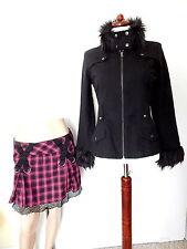 2pc TRIPP NYC  JACKET+ SKIRT M Black w/faux fur HOT pink w/mesh GOTH/COSPLAY EUC