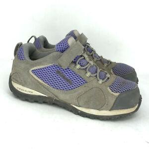 Columbia Girls YY1158-527 Gray Purple Synthetic Hiking Shoes Waterproof Size 2