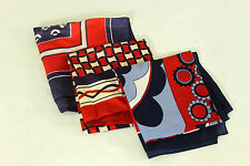 Lot of 4 Vtg Square Scarves 60's 70's Red White Blue Mod Scarf Handkerchiefs