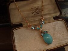 Vintage Aquamarine Blue Crystal & Turquoise Cabouchon Drop Pendant Necklace