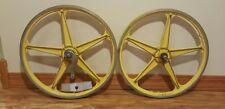 Vintage PAIR Lester YEL Aluminum Old School BMX Mag Wheel 1970's Bendix Coaster