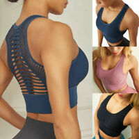 Womens Padded Sport Bra Ladies Crop Top Gym Yoga Workout Run Fitness Shaper Vest