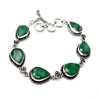 Faceted Emerald 925 Sterling Silver plated Handmade Jewellery Bracelet 17 Gm-AD1