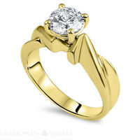 1.5 CT Solitaire Engagement Diamond Ring Round SI1/F Yellow Gold 18K Enhanced