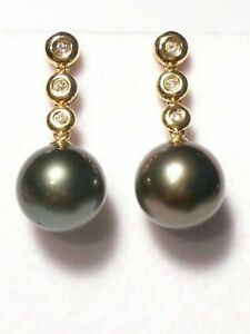11-12mm Tahitian black pearl dangle earrings, diamonds, solid 14k yellow gold.